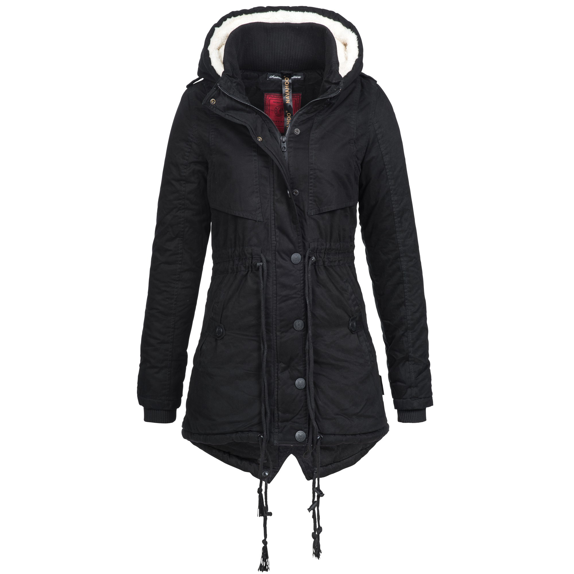 navahoo valentina damen jacke parka mantel winterjacke lang warm gef ttert ebay. Black Bedroom Furniture Sets. Home Design Ideas