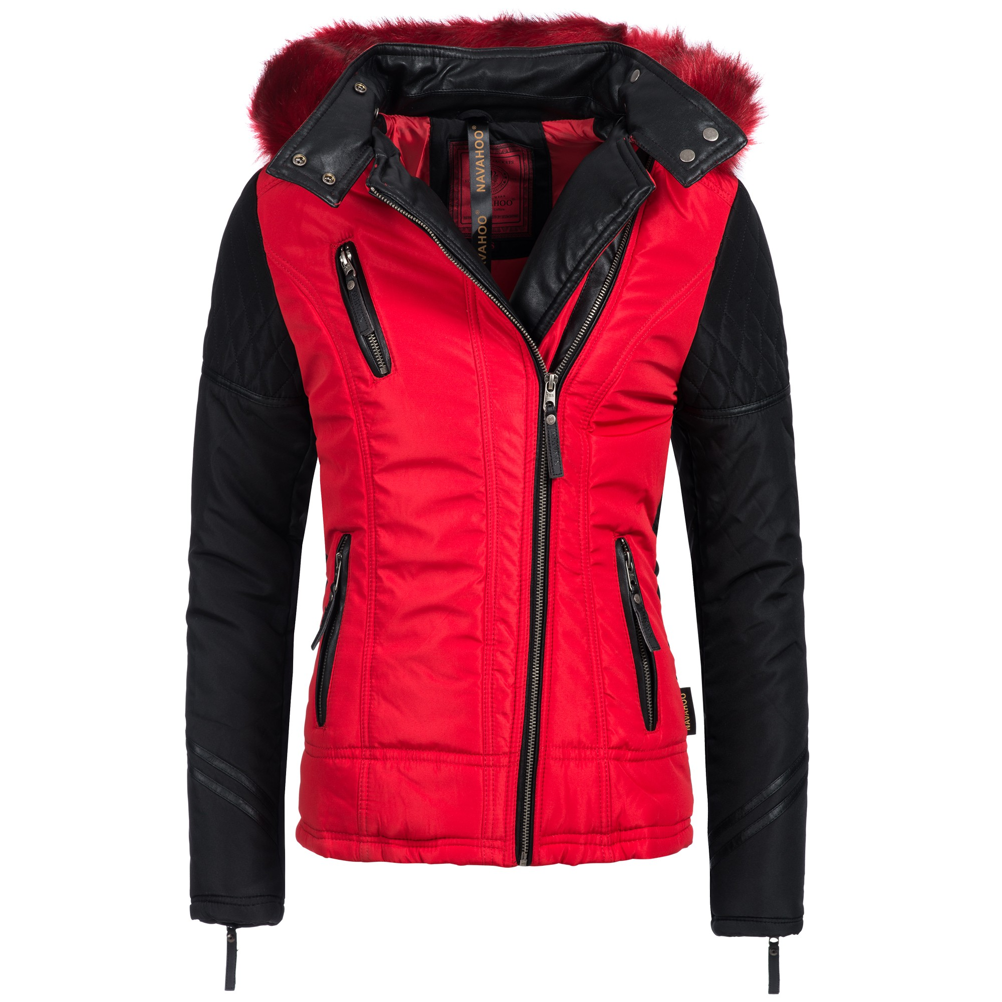 navahoo lissy damen jacke parka mantel winterjacke biker warm gef ttert ebay. Black Bedroom Furniture Sets. Home Design Ideas