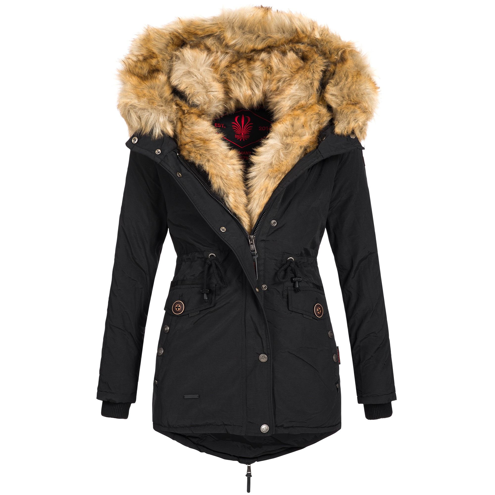 navahoo sweety damen jacke mantel winterjacke warm fell doppelkapuze xs xxl ebay. Black Bedroom Furniture Sets. Home Design Ideas