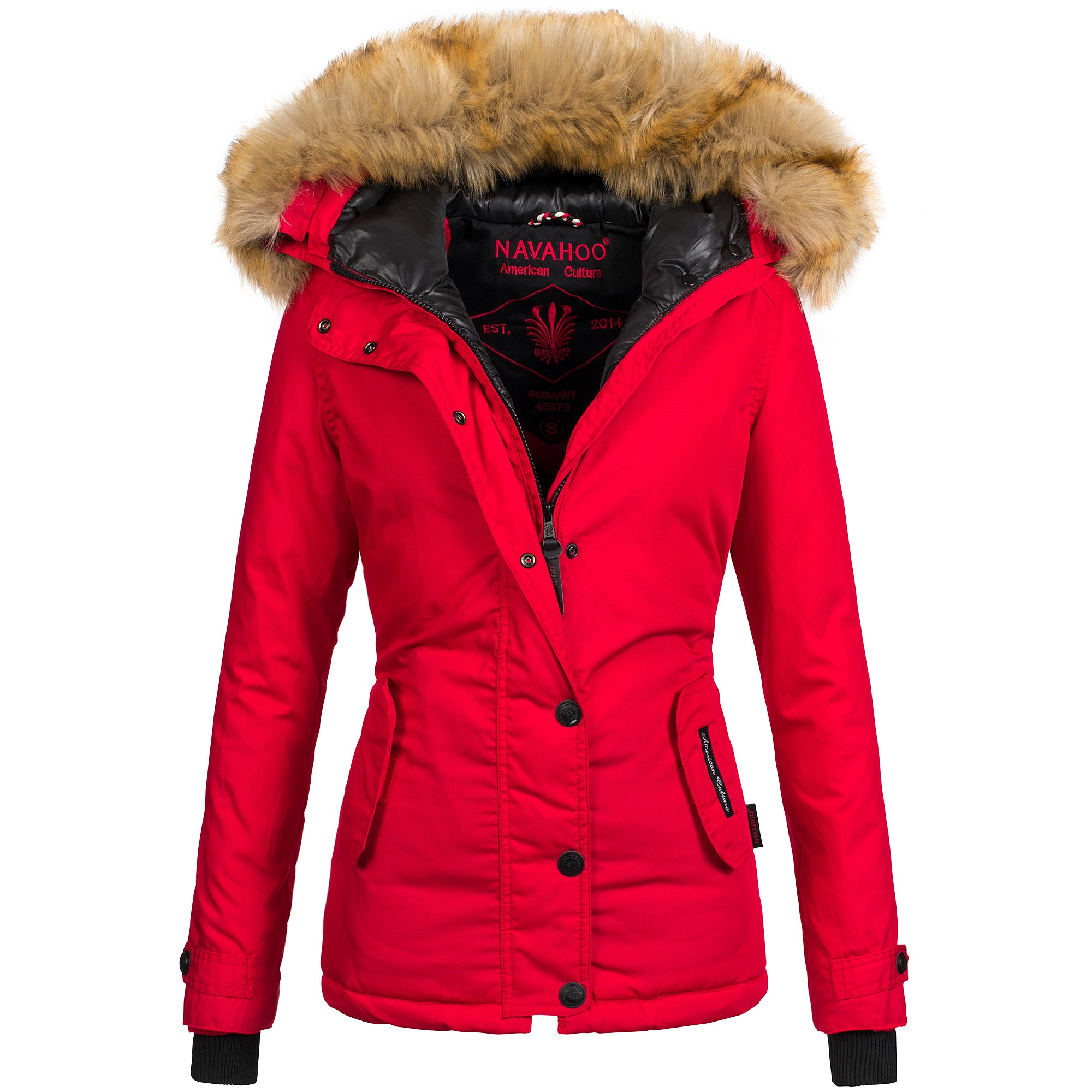 navahoo laura2 damen jacke parka mantel winterjacke warm xxl luxus kunstpelz ebay. Black Bedroom Furniture Sets. Home Design Ideas