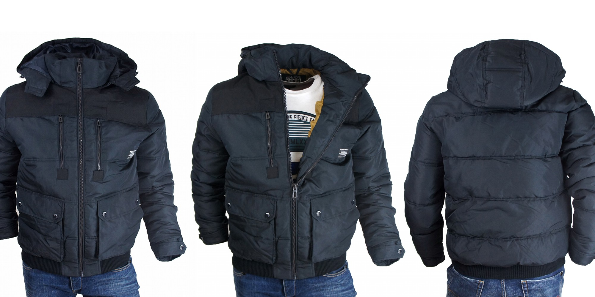 jack jones jacke mantel jacket winter rider jkt black navy s xxl ebay. Black Bedroom Furniture Sets. Home Design Ideas