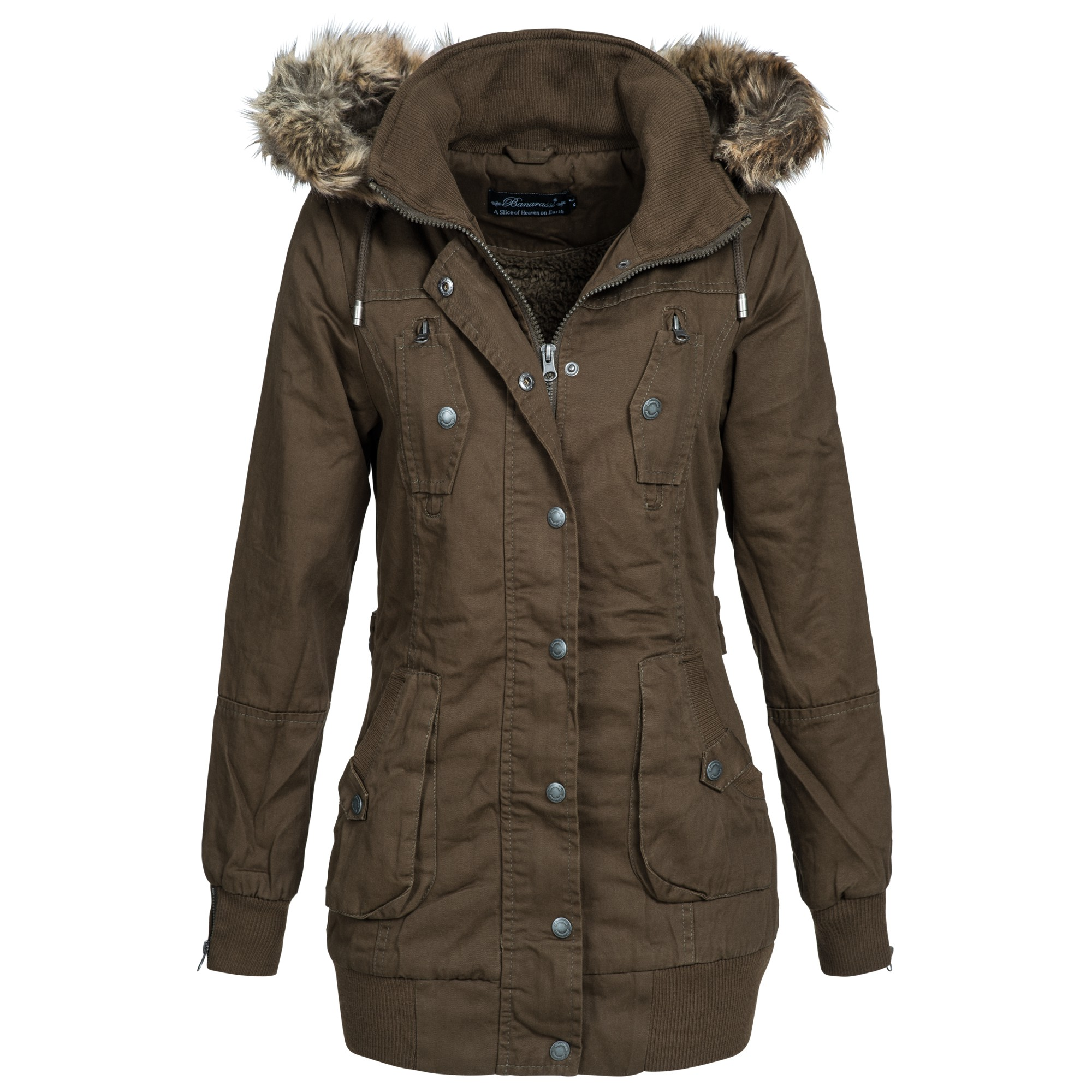 banarassi damen parka jacke mantel wintermantel gef ttert flavours xs xl ebay. Black Bedroom Furniture Sets. Home Design Ideas