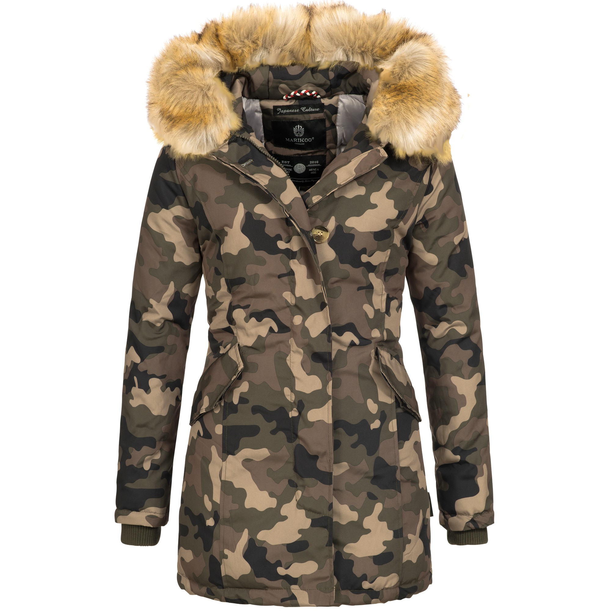 marikoo karmaa damen jacke parka mantel warme winterjacke luxus xxl kunstpelz ebay. Black Bedroom Furniture Sets. Home Design Ideas