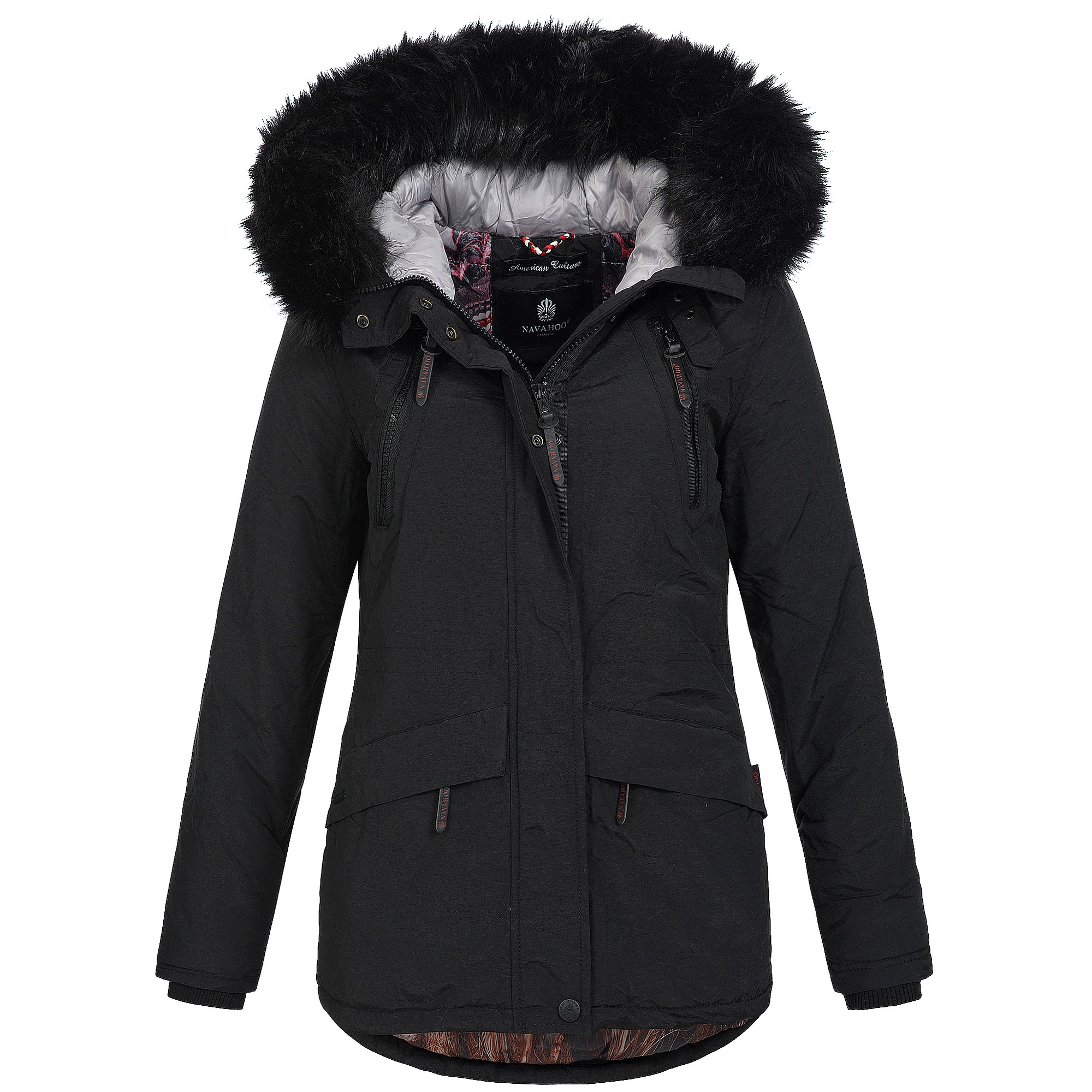 navahoo alisia damen jacke mantel winterjacke warm parka fell warm xs xxl ebay. Black Bedroom Furniture Sets. Home Design Ideas