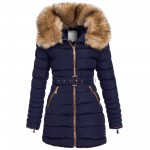 BE-Fashion 17122 Damen Winter lange Jacke Parka Steppjacke Mantel großer Kunst-Fellkragen